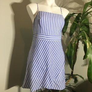 🌊 EUC Lulu's Dress Blue Striped Wrap Design